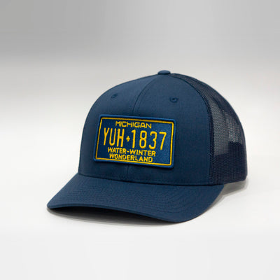 Michigan Water Winter Wonderland Vintage License Plate Curved Brim Snapback Cap