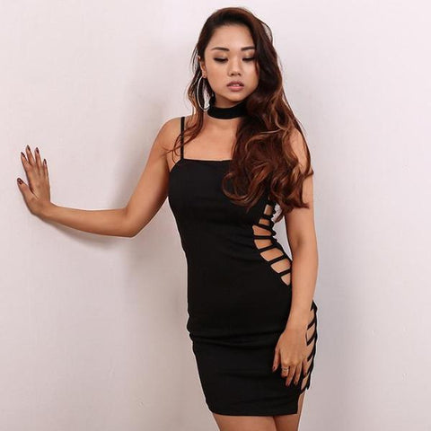 Side See Through Strap Backless Hollow Out Dress