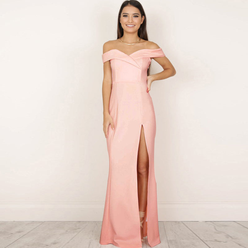 Strapless Side Slit Off the Shoulder Long Dress