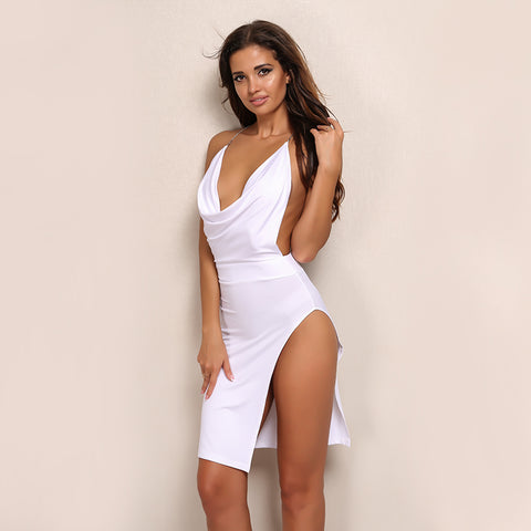 Backless Deep V Neck Slit Dress