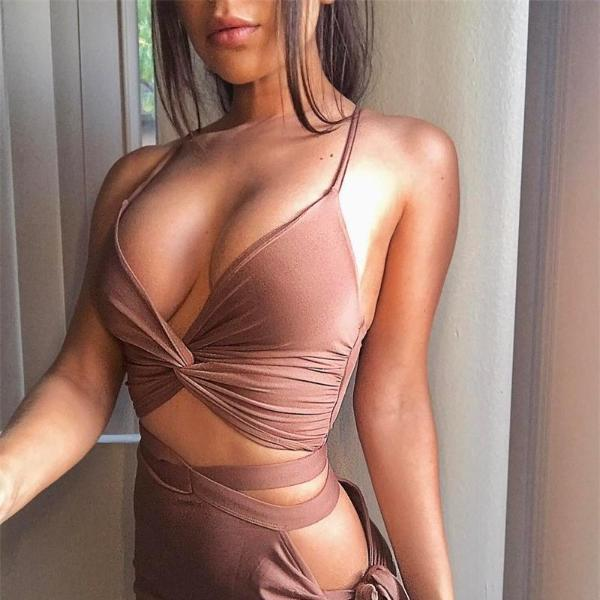 Side Slit Asymmetrical Bandage Party Set