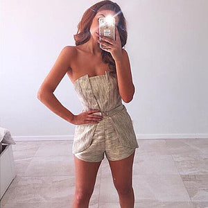 Pleated Overall Strapless Jumpsuit