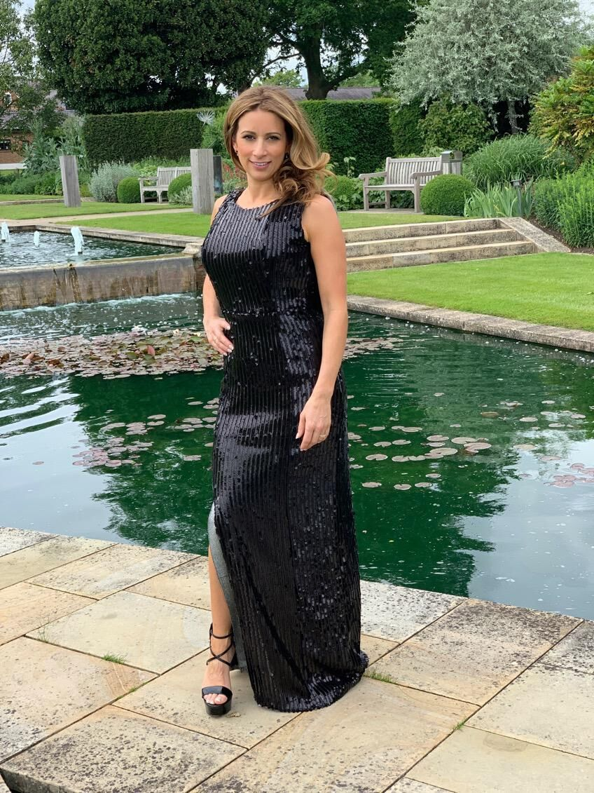 'Vanesse' black and silver sequin evening dress
