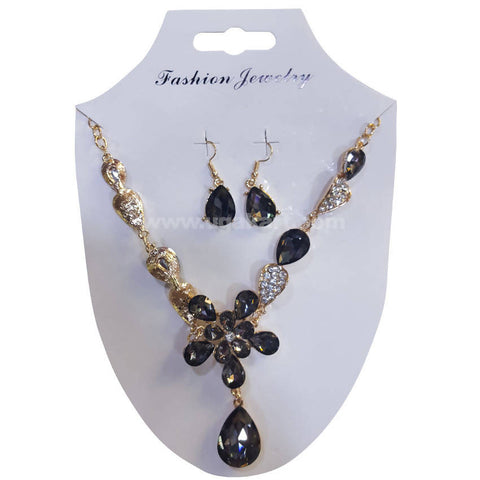 Fashion Jewelry Black CJ Stones Necklace and Earrings