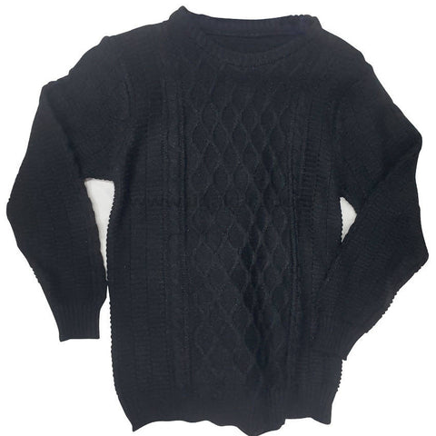 Black Rounded Neck Sweater For Mens