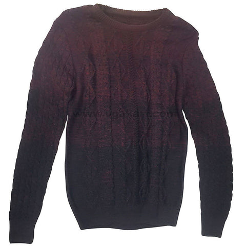 Barn Red Graphic Rounded Neck Sweater For Mens