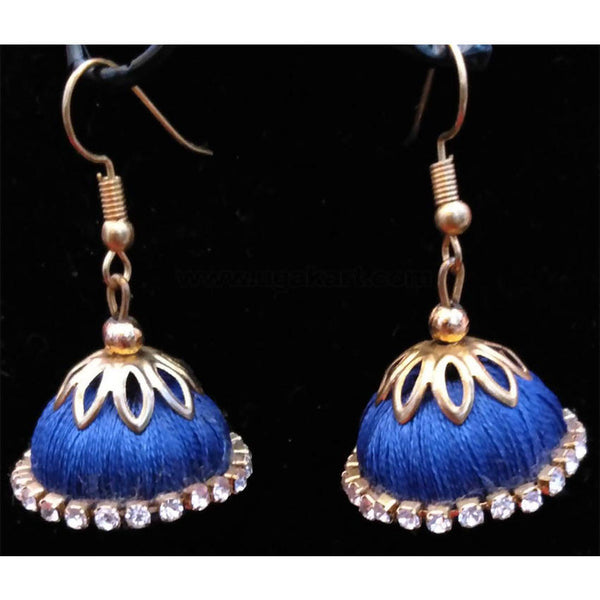Dark Blue Thread Golden Earrings
