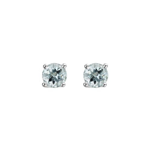 Aquamarine Stud Earrings set in 14k White Gold