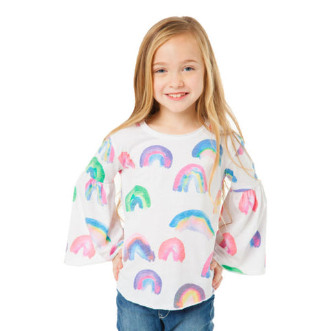 Chaser Kids - Painted Rainbows Bell Sleeve Top