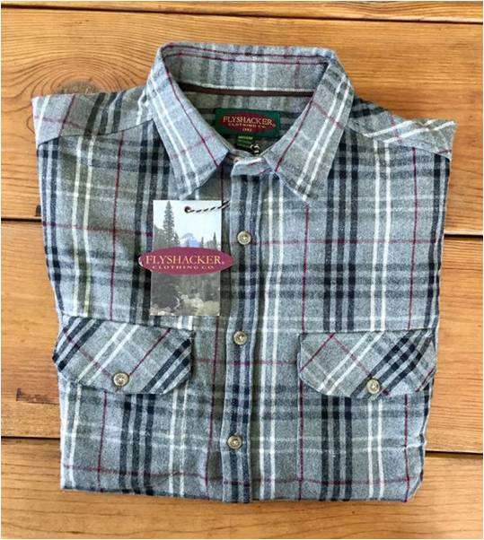 A folded Flyshacker flannel shirt, heritage, heather gray