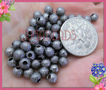 100 Gunmetal Black over Copper Stardust Round Beads 4mm