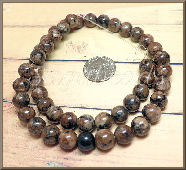1 Strand of round Sesame Jasper Beads, Cocoa Brown Stone Beads