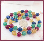 Mixed Faceted Agate Beads, Blue, Pink, Green, Yellow, 8mm Faceted Agate