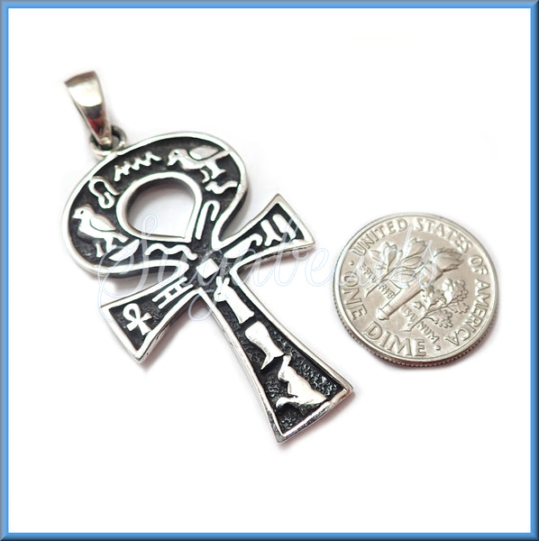 Sterling Silver Ankh with Hieroglyphics, Silver Egyptian Ankh, Ankh Pendant