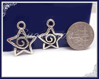 12x Antiqued Silver Spiral Star Pendants, 20mm Silver Star Charms, PS20