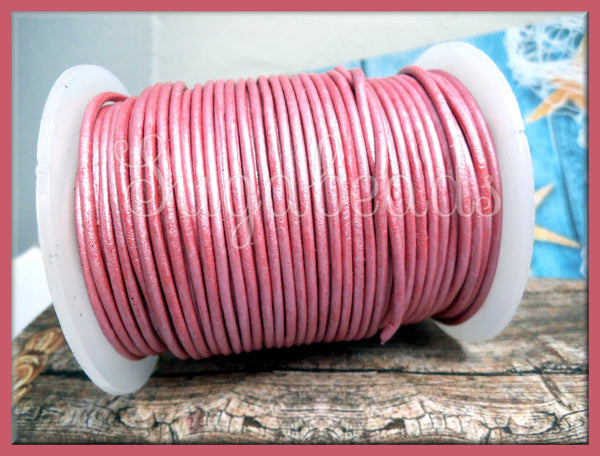 Rose Pink Leather Cord, Round Leather 16 feet, 2mm thick cord, Metallic Pink Leather