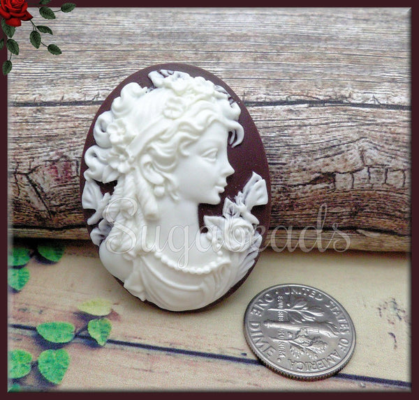 2x Lady w Butterfly Resin Cameo, White on Dark Brown Cameo, Flat Back Cameo, Fits 30x40mm