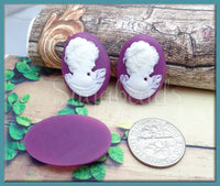4 Classic Lady Resin Cameo, White on Purple Cabochons, Fits 18mm x 25mm, Oval  Cameos