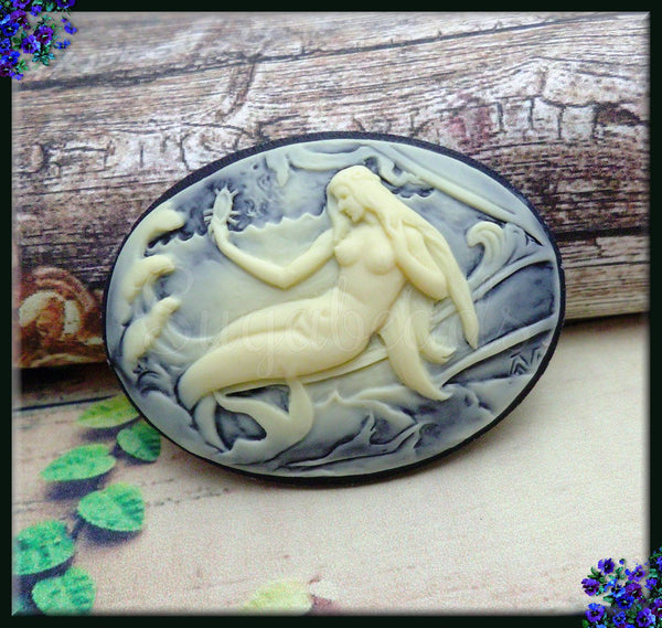 2x Mermaid Resin Cameo, Cream on Black Mermaid Cameo, Horizontal Cameo Fits 40x30mm
