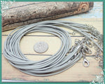 10 Grey Necklace Cords, Finished Gray Cords, 18 inches long, Cord Necklaces, Finished Cords
