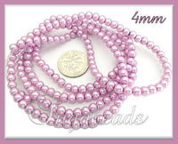 200 Pink Lilac Glass Pearl Beads 4mm