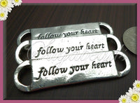 3 Silver Stamped Connectors, Follow Your Heart Charms, Follow your heart Connectors