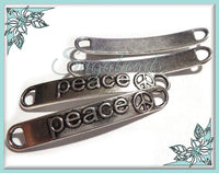 6 Antiqued Silver Peace Connectors 38mm