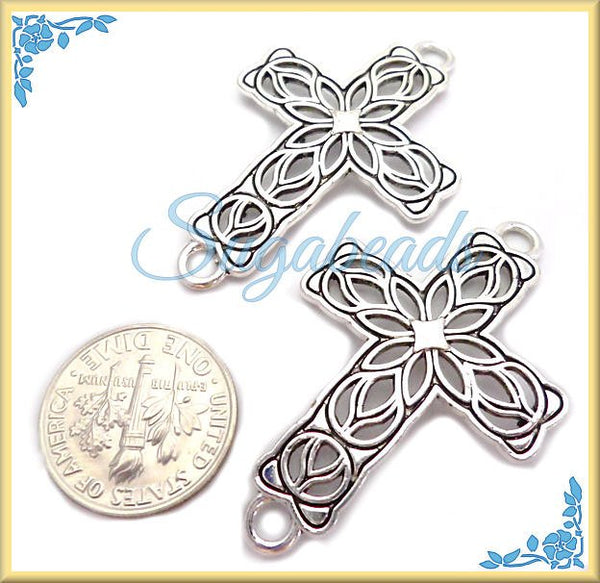 4 Filigree Cross, Antiqued Silver Cross Connectors, Silver Cross 42mm
