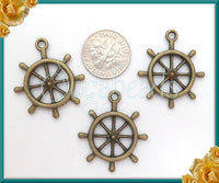 6 Antiqued Brass Ship Wheel Charms, Ship Wheel Pendants 28mm, PB84