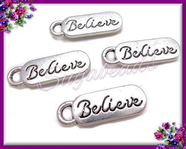 12 Silver Believe Charms, Believe Tag Charms 20mm, PS83