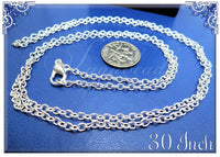 12 Pack Silver Plated Finished Chains - 30 inch Cable Chains with Clasps SB07