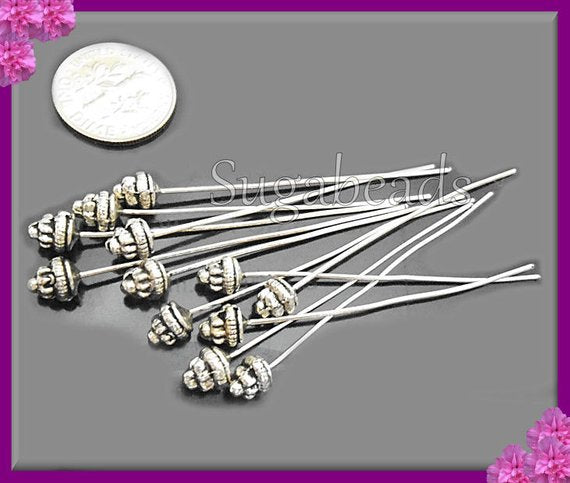 20 Antiqued Silver Fancy Head pins 2 inch with 5.5mm Spacer Bead Head