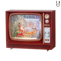 Santa Sleigh and Reindeer Lighted Water TV Musical Lantern With Swirling Glitter - 3940521 - NEW 2019