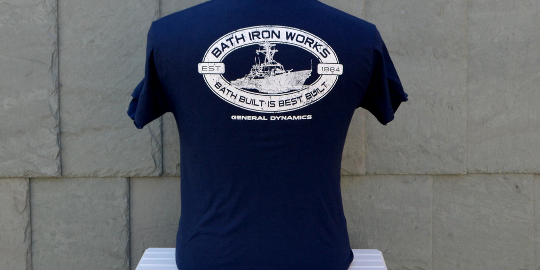 Back of the blue cotton Maine Maritime Museum BIW Bath Built is Best Built t-shirt