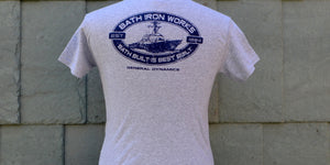 Back of the gray cotton Maine Maritime Museum BIW Bath Built is Best Built t-shirt