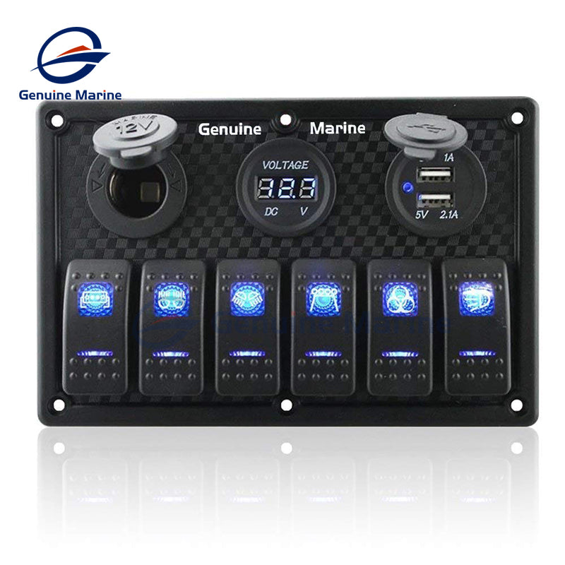 6 Gang Waterproof Rocker Switch Panel with Fuse - GenuineMarine