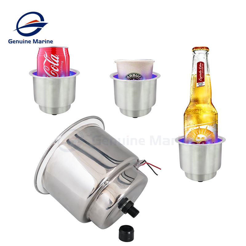 2Pcs Blue LED Stainless Steel Cup Holder with Drain - GenuineMarine