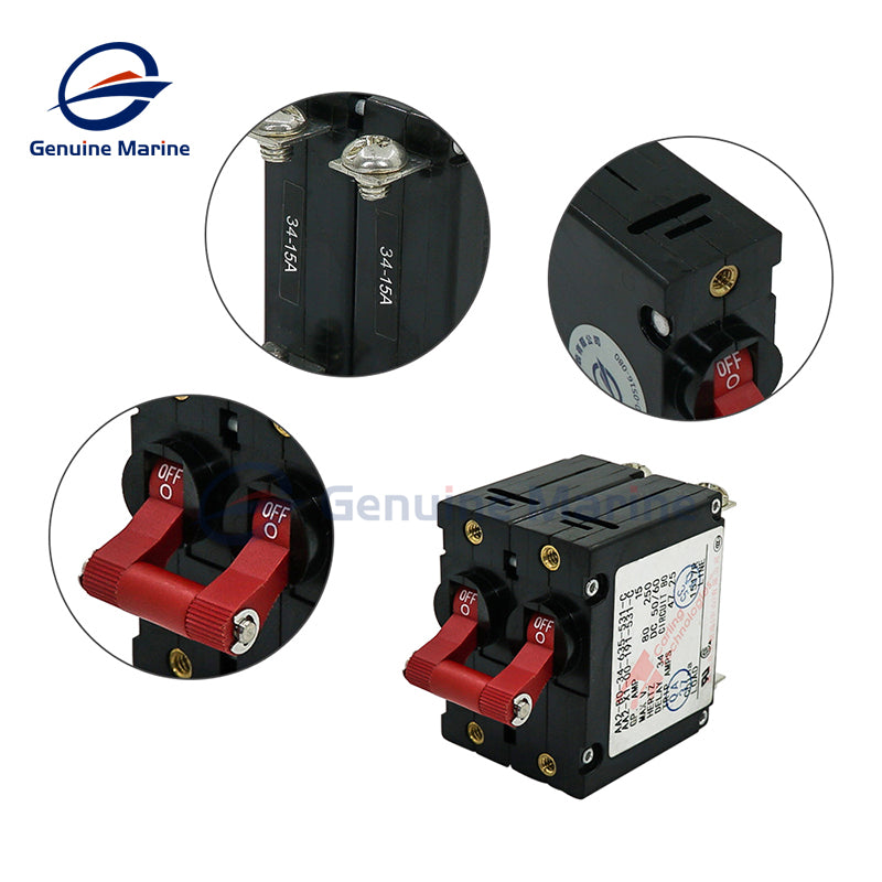 Toggle Magnetic Circuit Breaker 15Amp ON/Off Double Pole - GenuineMarine