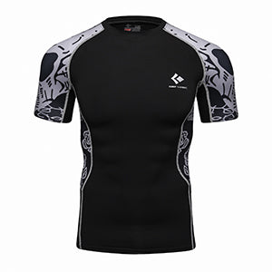 Rash Guard Black Grey Graphic Short Sleeve
