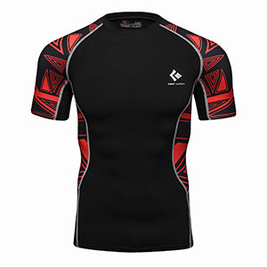 Rash Guard Black Red Graphic Short Sleeve