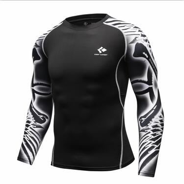 Long Sleeve Rash Guard Black Grey Graphic