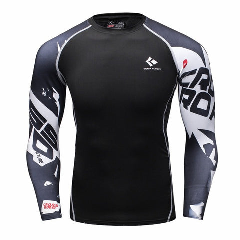 Rash Guard Black White Graphic Long Sleeve