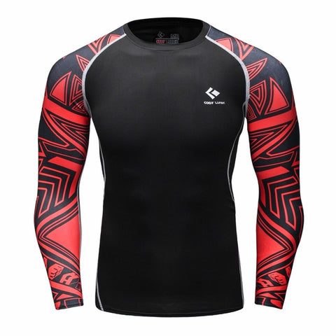 Long Sleeve Rash Guard Black Red Graphic