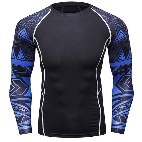 Rash Guard Black Blue Graphic Long Sleeve
