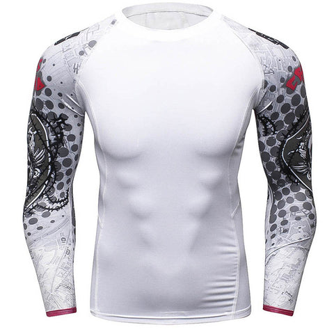 Rash Guard Long Sleeve White Grey