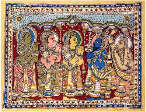 King Dashrath and His Wifes - Kalamkari Painting  42""