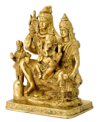 God Shiva Family Brass Sculpture