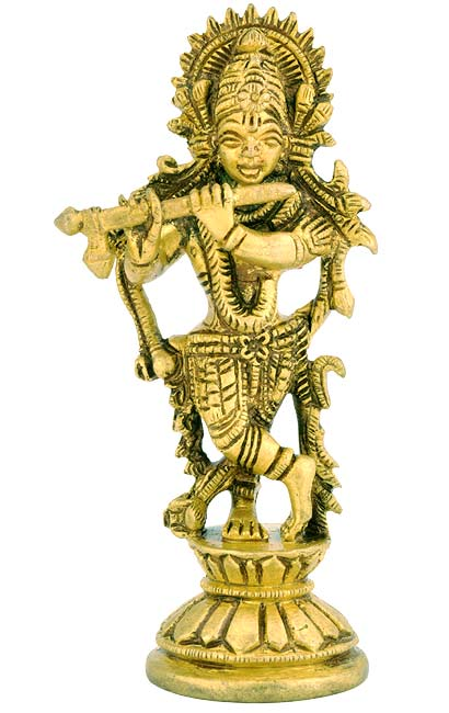 Beautiful God Krishna - Miniature Brass Statue 4.5""