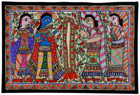 Ram Sita Marriage Scene - Madhubani Folk Painting