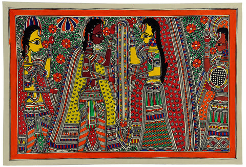 Shri Ram and Sita Wedding - Madhubani Painting